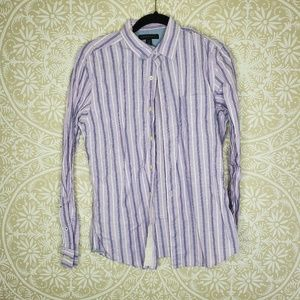 Banana Republic Striped Purple Button Down Shirt S